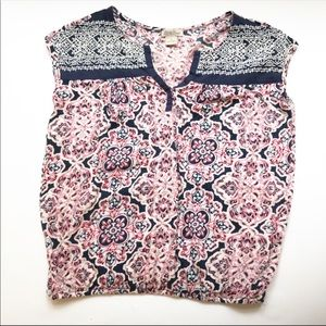 Lucky Brand Boho Embroidered Top Sz S